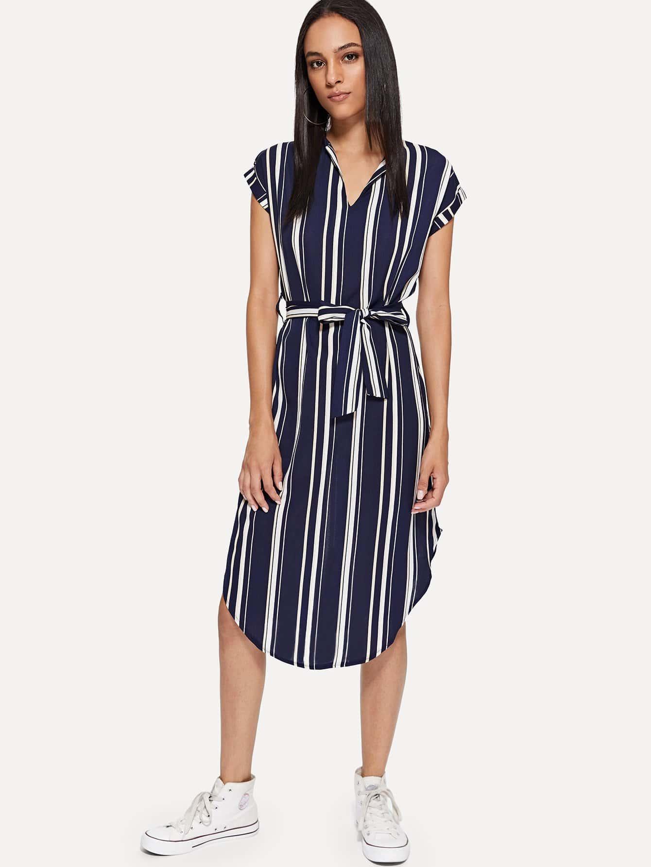Knot Detail Striped Dress knot detail striped bodysuit