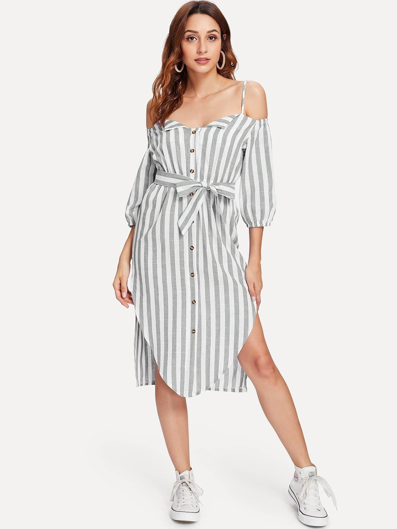 Knot Detail Striped Split Dress knot detail striped bodysuit