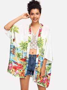 Tropic Print kimono