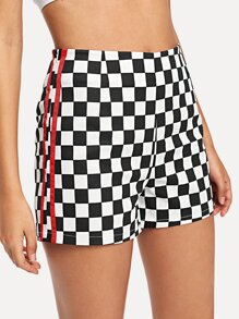 Striped Side Plaid Shorts