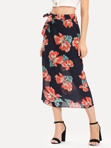 Knot Detail Floral Print Skirt