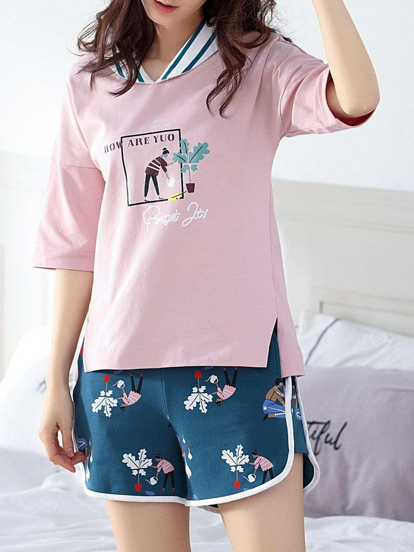 Купить Комплект для печати мультфильмов и писем Pajama Set, null, SheIn
