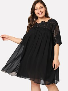 Plus Lace Crochet Frill Detail Smock Dress