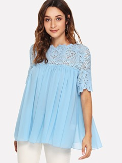 Lace Shoulder Frill Detail Smock Top
