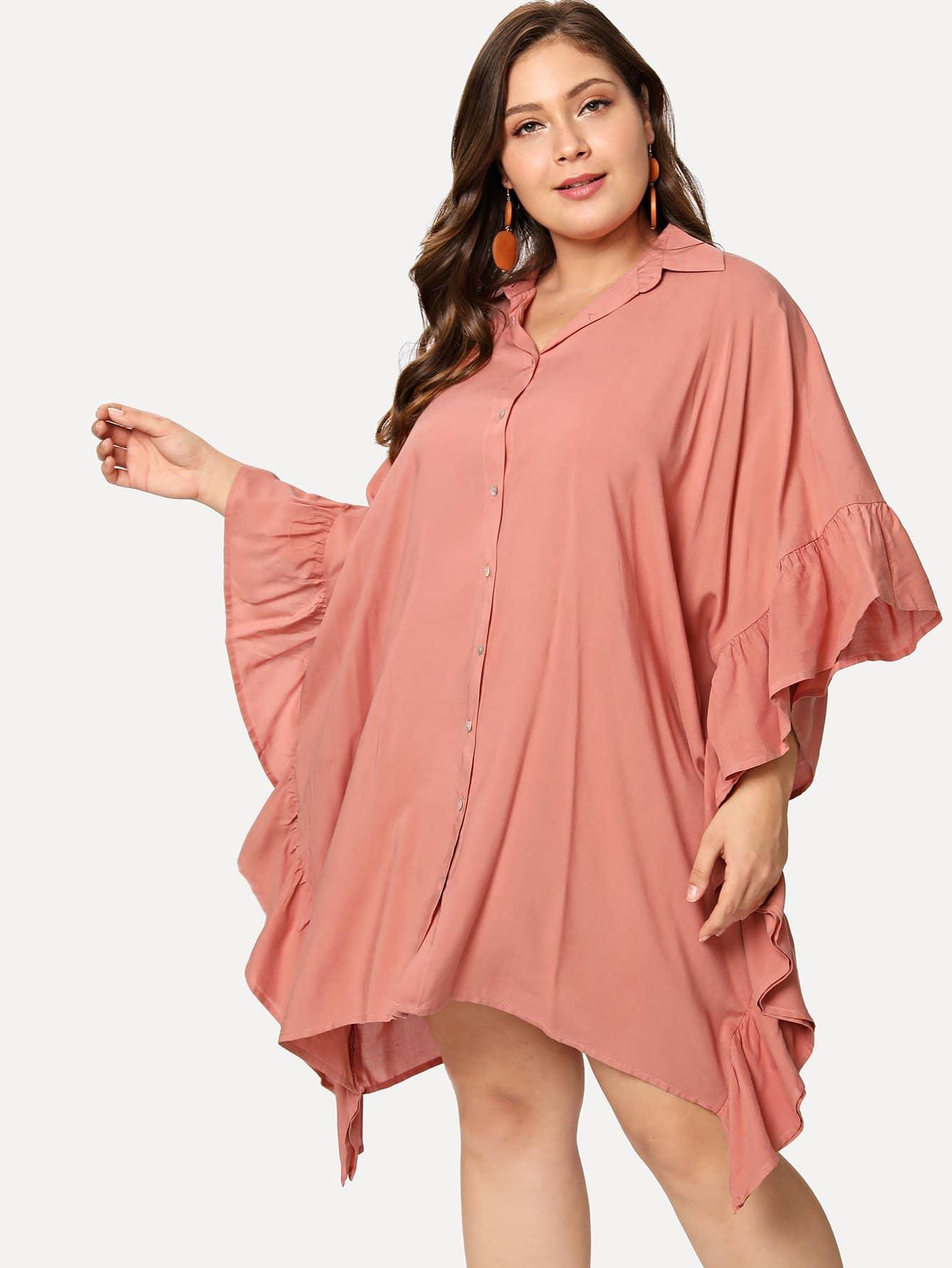Ruffle Trim Batwing Sleeve Shirt Dress batwing sleeve pinstripe shirt dress