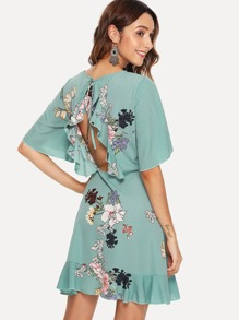 Bell Sleeve Ruffle Hem Botanical Dress