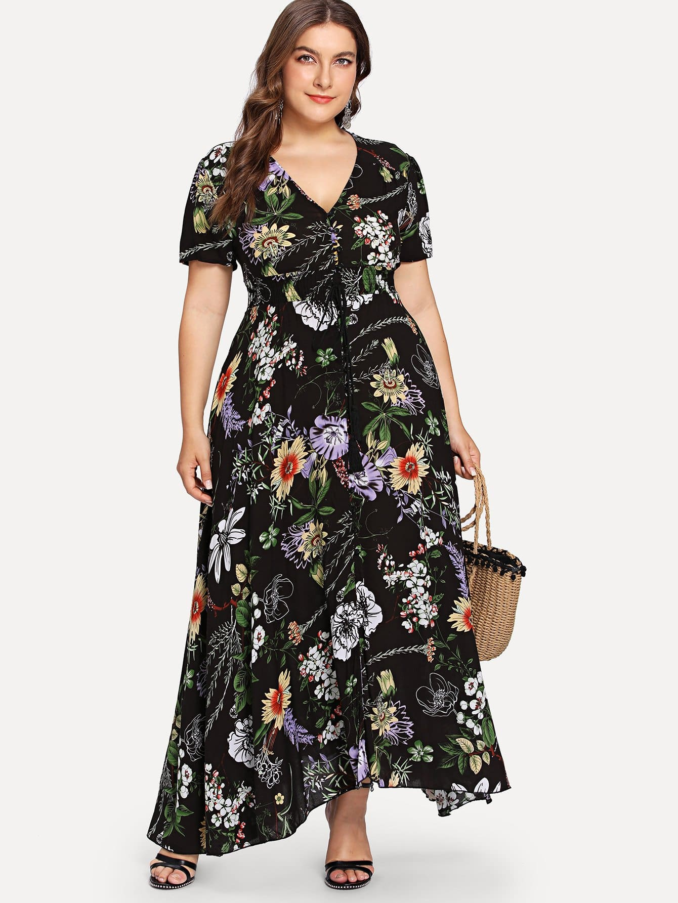 Surplice Neck Botanical Print Belted Dress botanical print surplice wrap dress