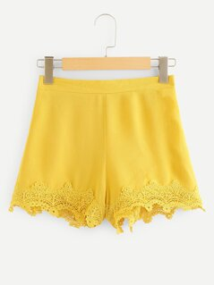 Floral Lace Trim Shorts