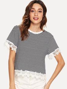 Contrast Floral Lace Trim T-shirt