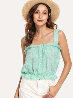 Embroidered Fluffy Fuzzy Crop Top