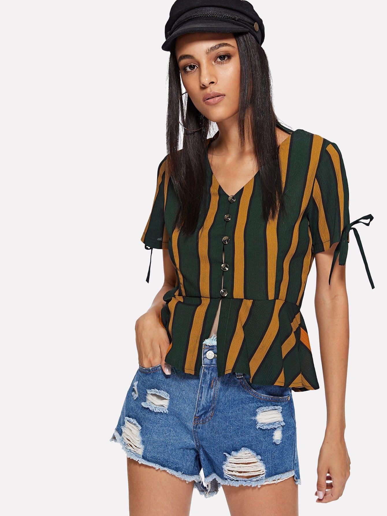 Knot Sleeve Striped Pep Hem Blouse contrast striped button back pep hem blouse