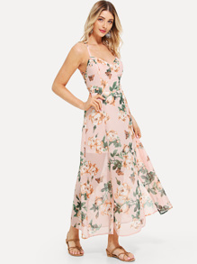 Lace Up Back Floral Print Dress