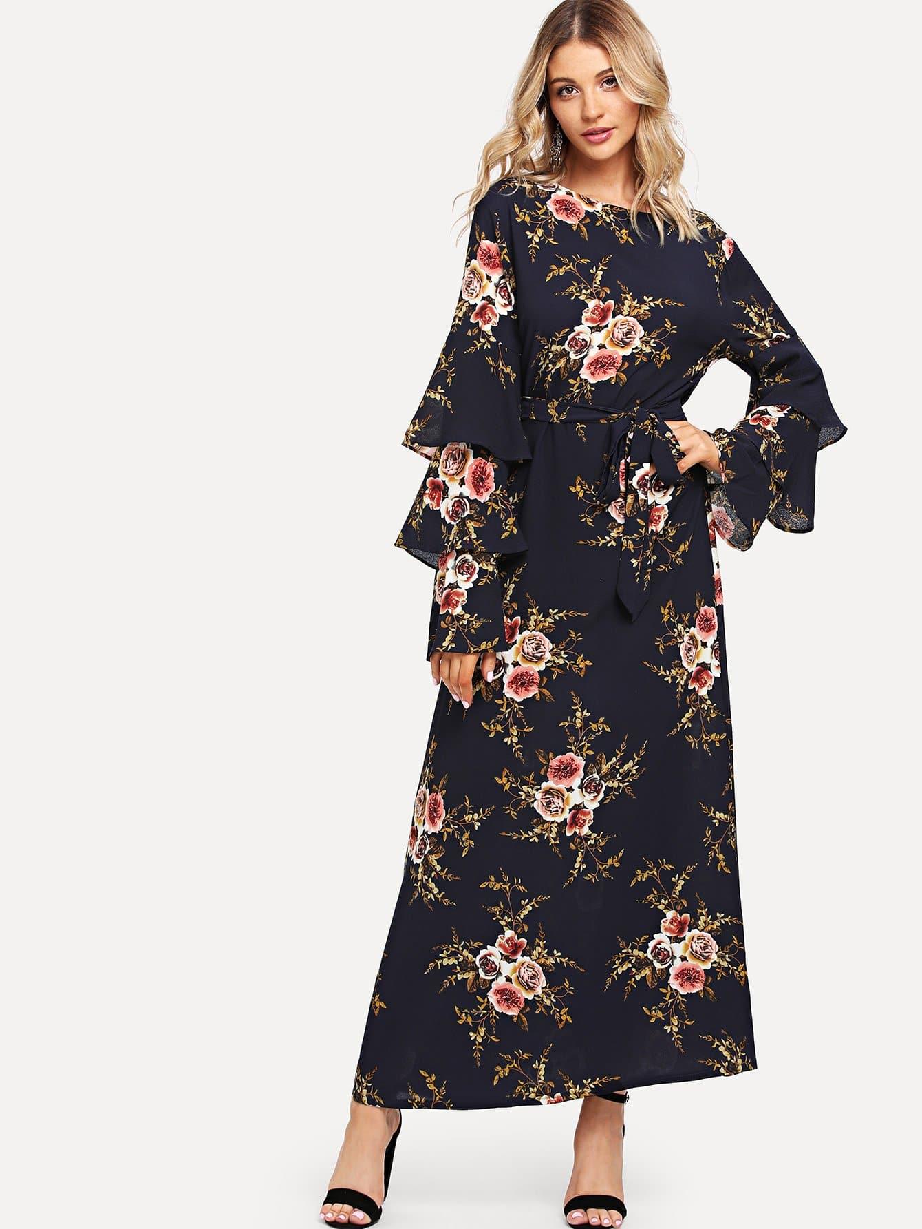 цена на Floral Print Tiered Sleeve Dress