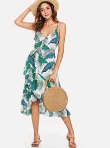 Self Tie Waist Printed Cami Dress