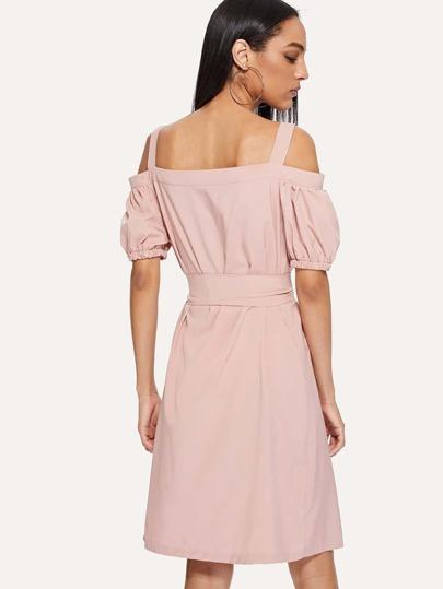 Romwe / Open Shoulder Self Tie Waist Dress