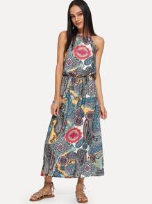 Geo Print Halter Dress