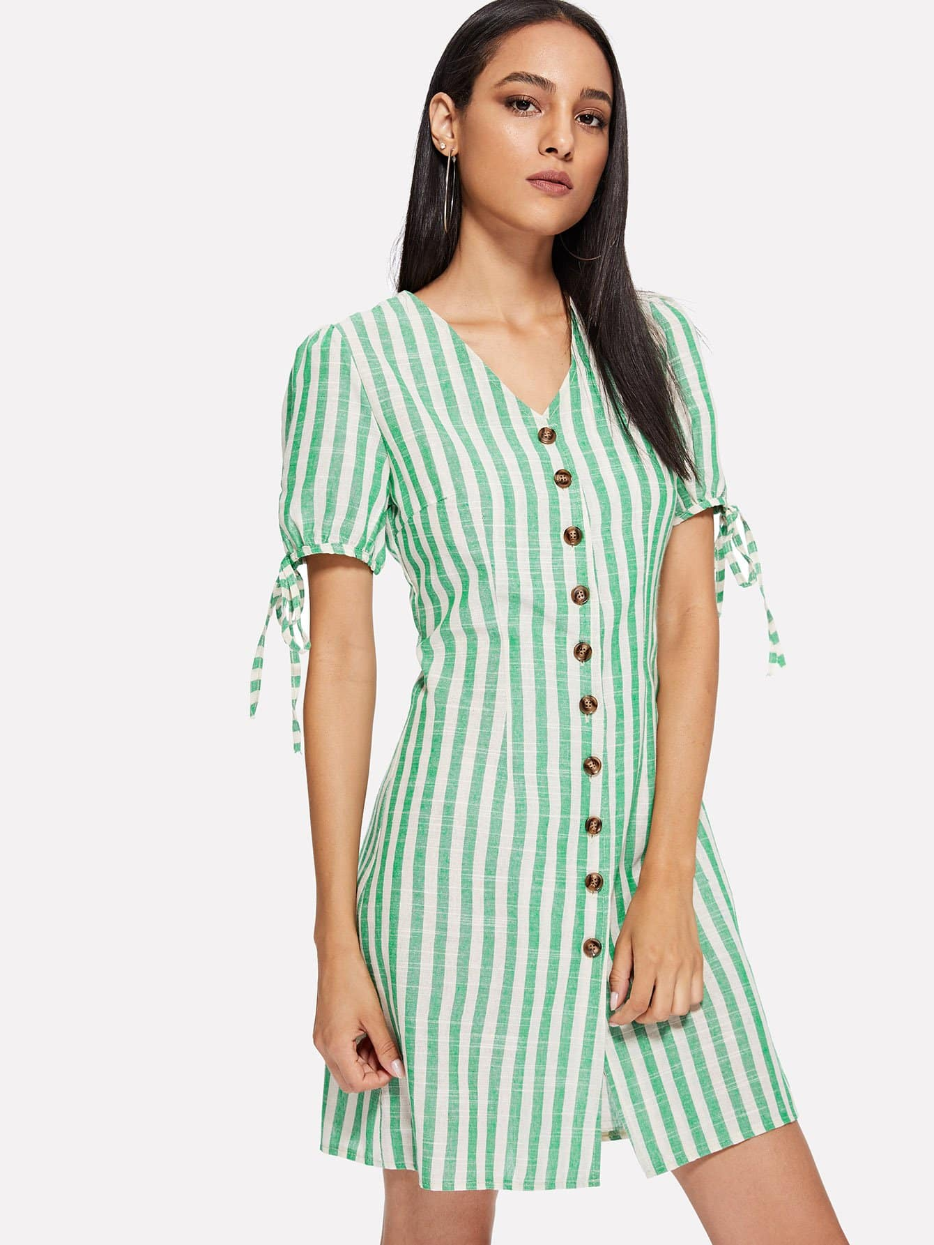 Single Breasted Striped Dress single breasted side checked dress