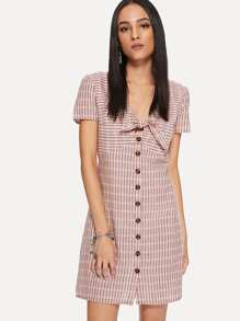 Single Breasted Knot Front Dress