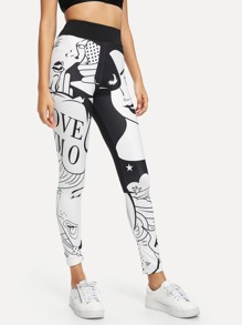Figure Print Skinny Leggings