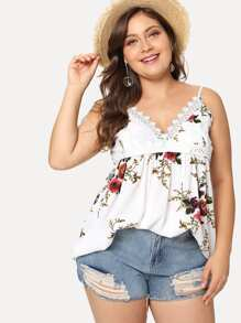 Plus Lace Trim Floral Cami Top