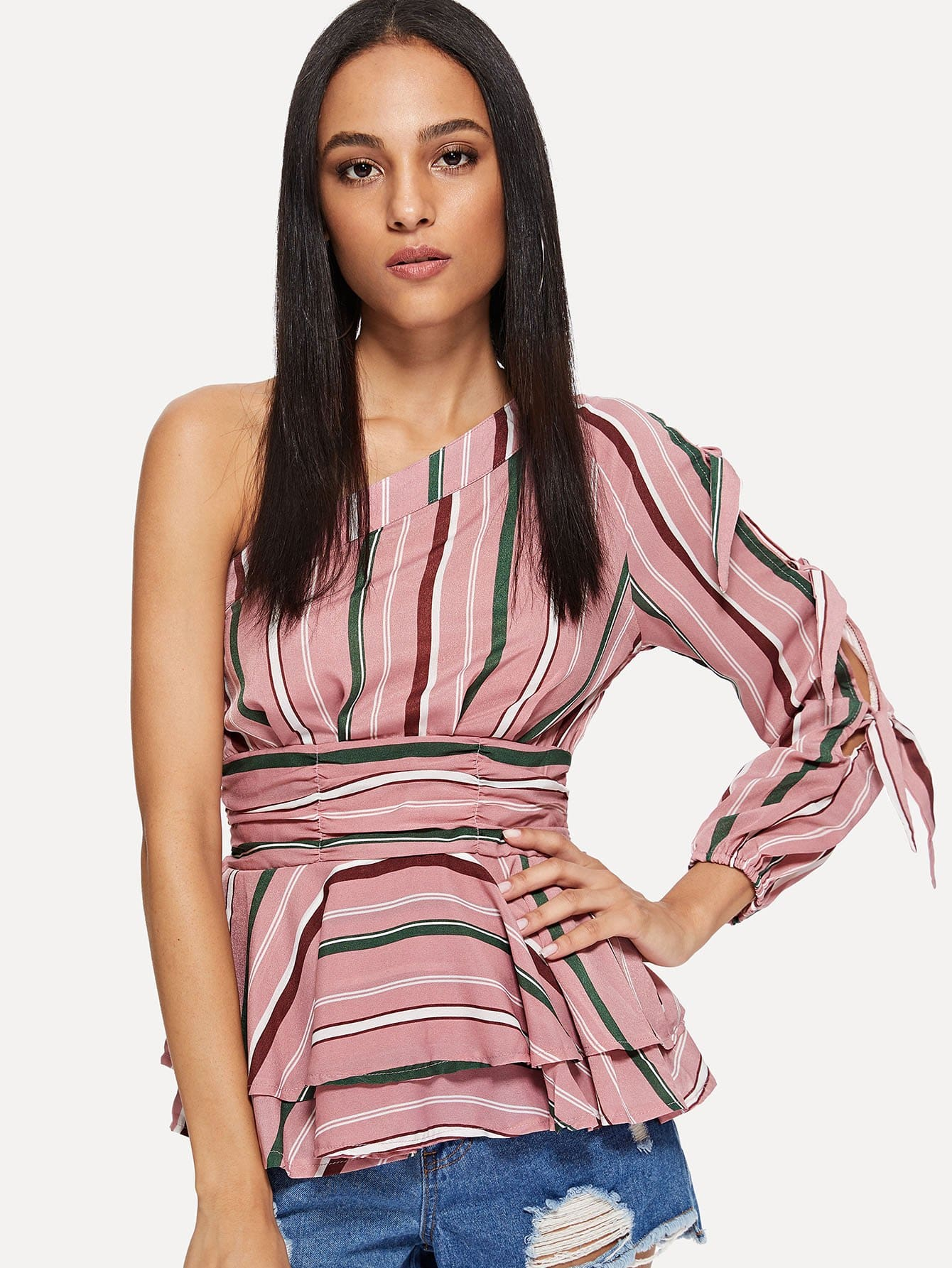 One Shoulder Ruched Waist Layered Ruffle Top one shoulder leaves print ruched swimwear