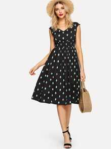 Shirred Waist Zip Back Fit & Flare Dress