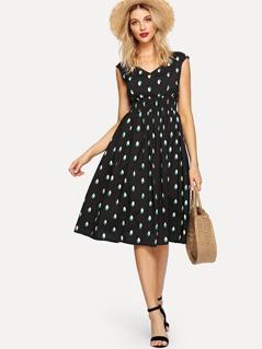 Shirred Waist Zip Back Fit & Flare Dress