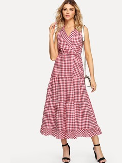 Notch Collar Gingham Tiered Ruffle Dress