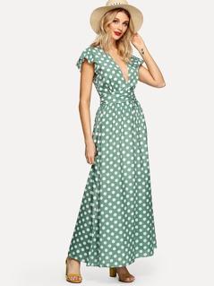Ruffle Embellished Plunging Neck Dot Dress