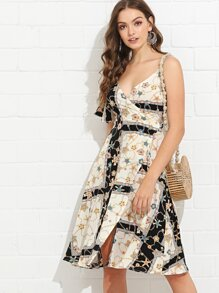 Mixed Print Wrap Cami Dress
