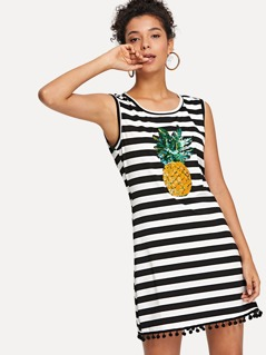 Contrast Sequin Pineapple Applique Striped Shell Dress