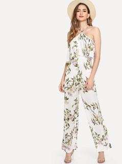 Halterneck Double Layer Botanical Jumpsuit