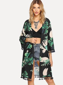 Open Front Jungle Leaf Print Tassel Hem Kimono