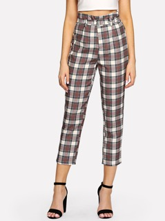 Buckle Belted Plaid Pants