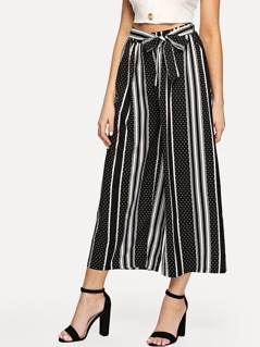 Stripe And Dot Print Wide Leg Pants