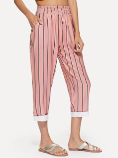 Contrast Hem Vertical-Stripe Carrot Pants