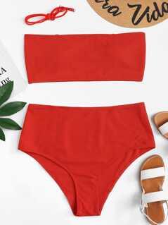 Plus Bandeau With Rib Knit Bikini Set