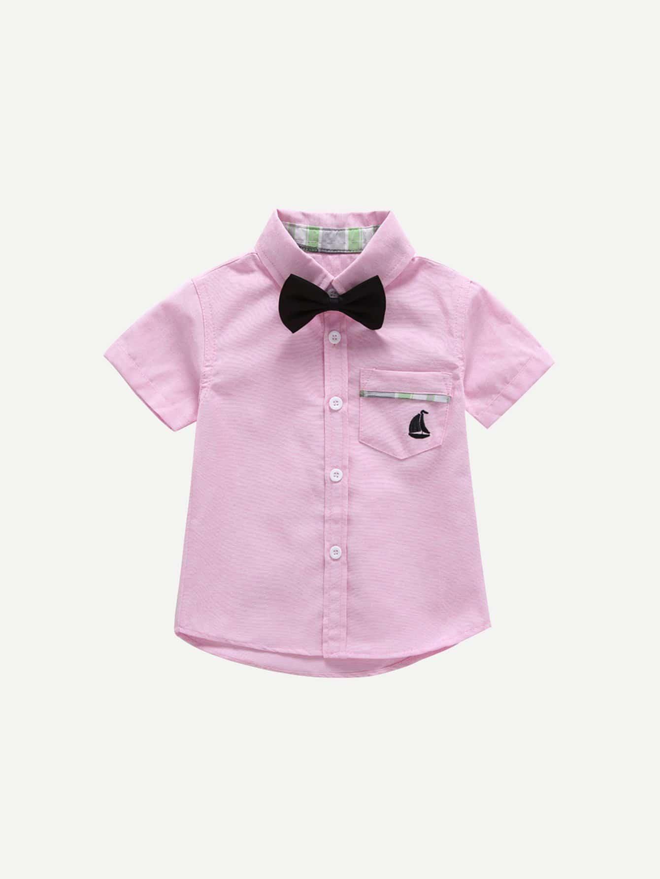 Kids Tie Neck Plain Blouse kids plain denim blouse