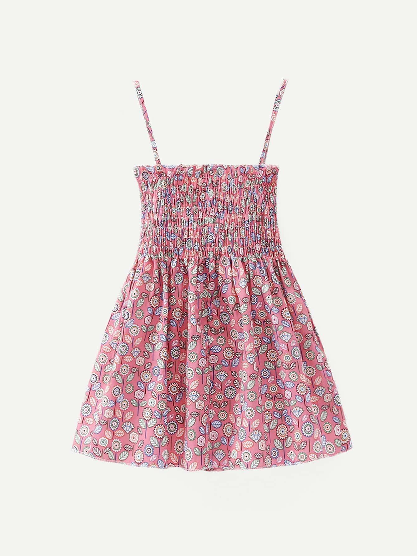 Kids Calico Print Shirred Cami Dress calico print shirred halter top