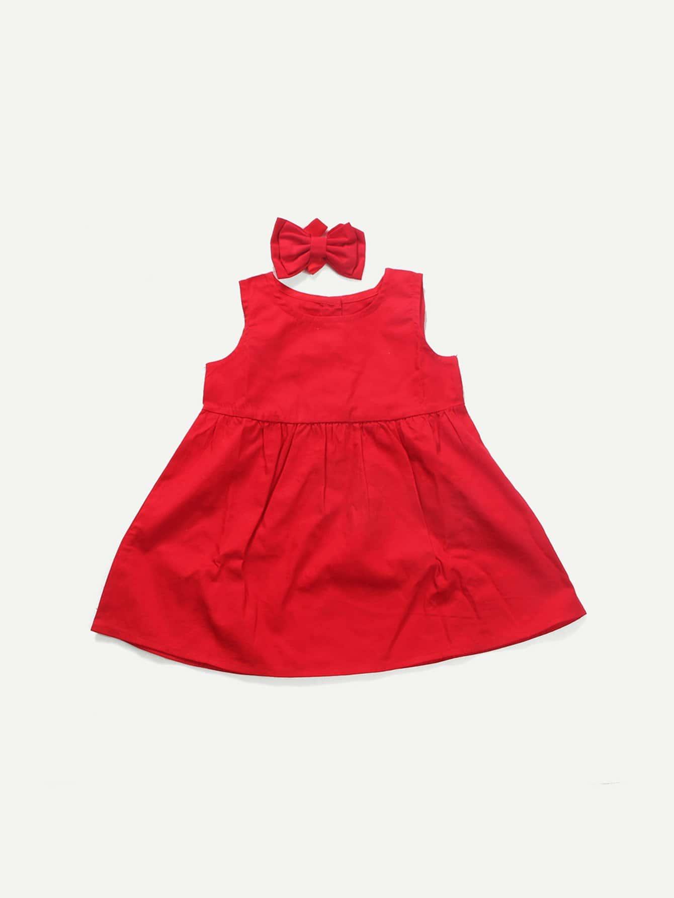 Фото Girls Button Decoration Plain Vest Dress