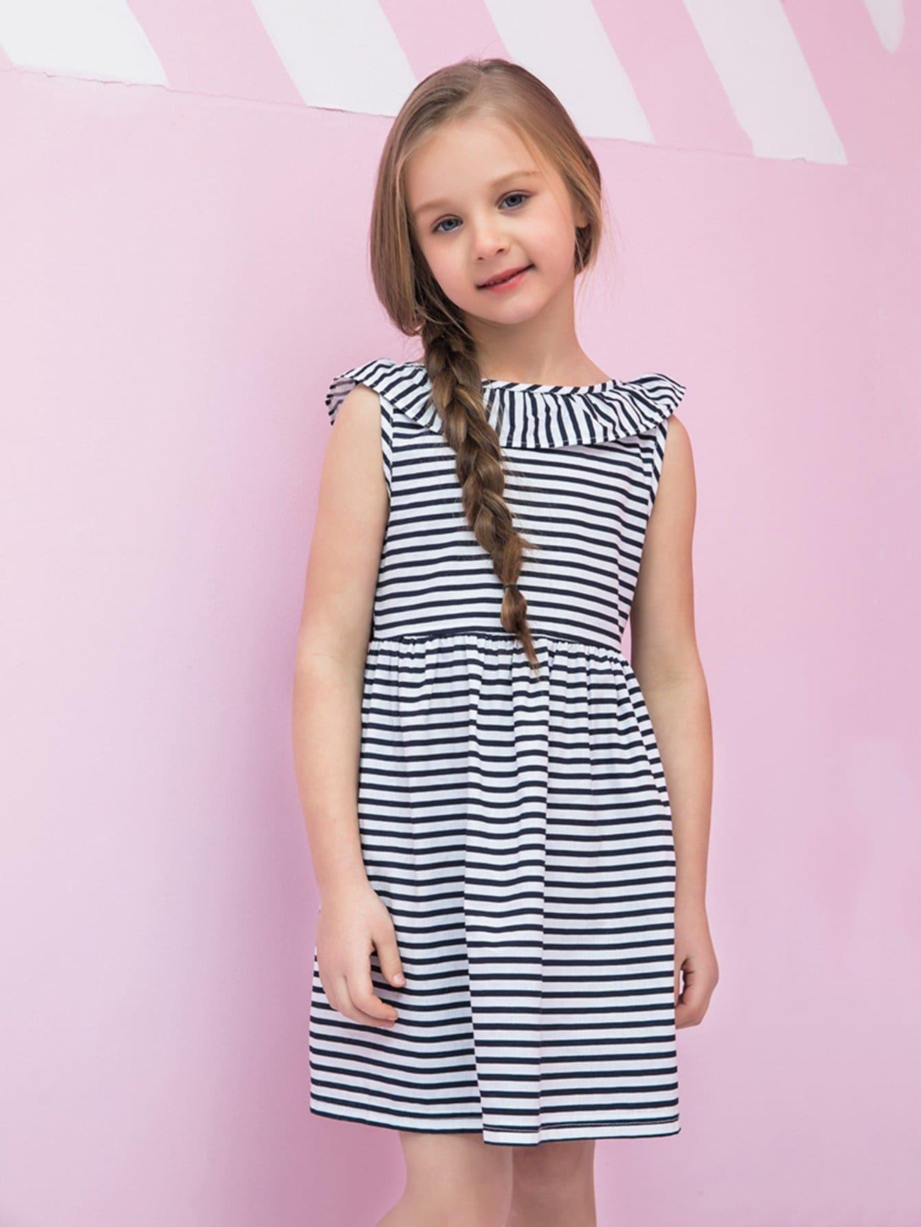 Girls Ruffle Tie Back Striped Dress kids ruffle tie neck striped romper