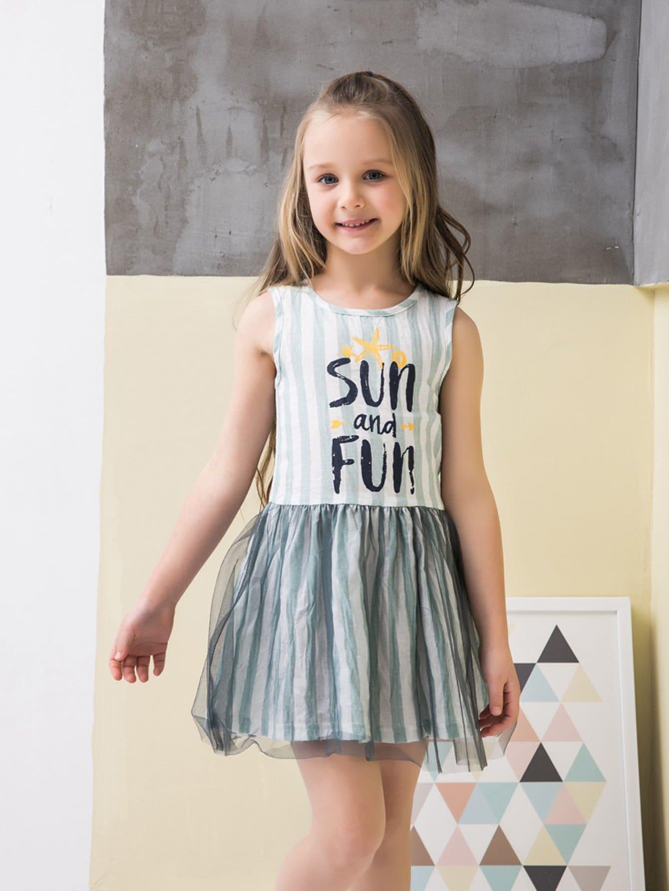 Kids Letter Print Contrast Mesh Striped Dress contrast lace striped star print dress