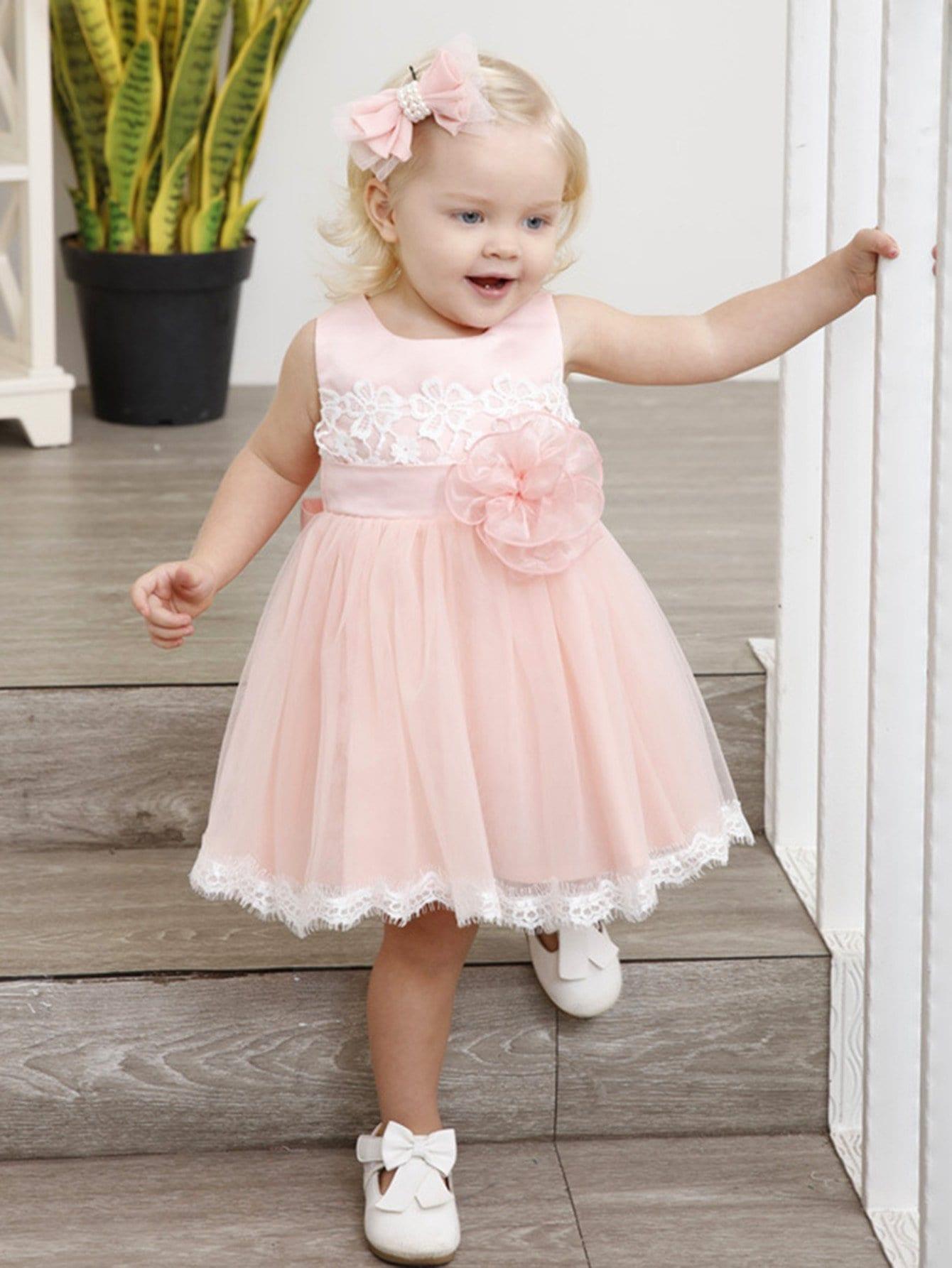Kids Contrast Mesh Tie Back Plain Dress contrast mesh box pleated plain dress