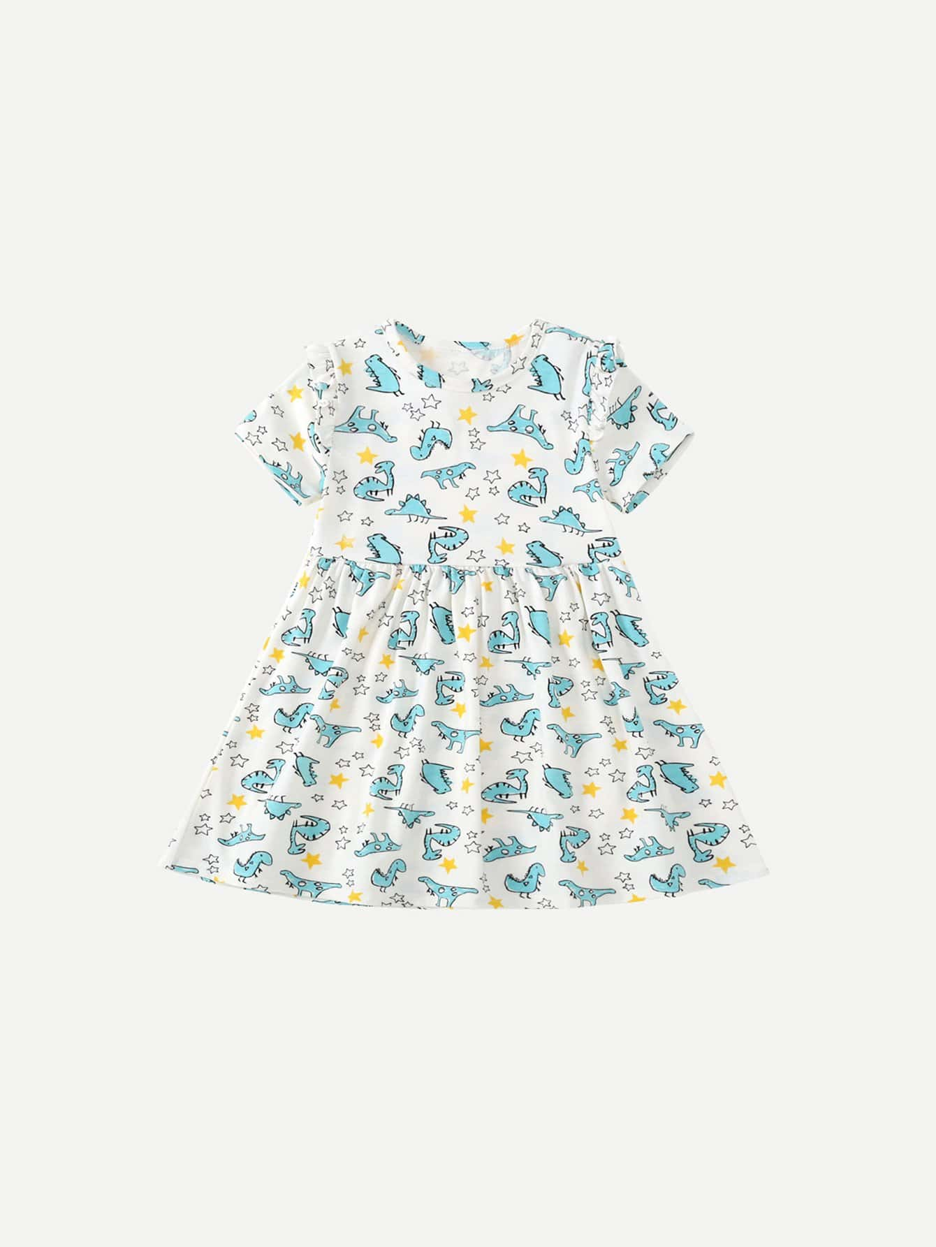 Girls Cartoon Dinosaur Dress