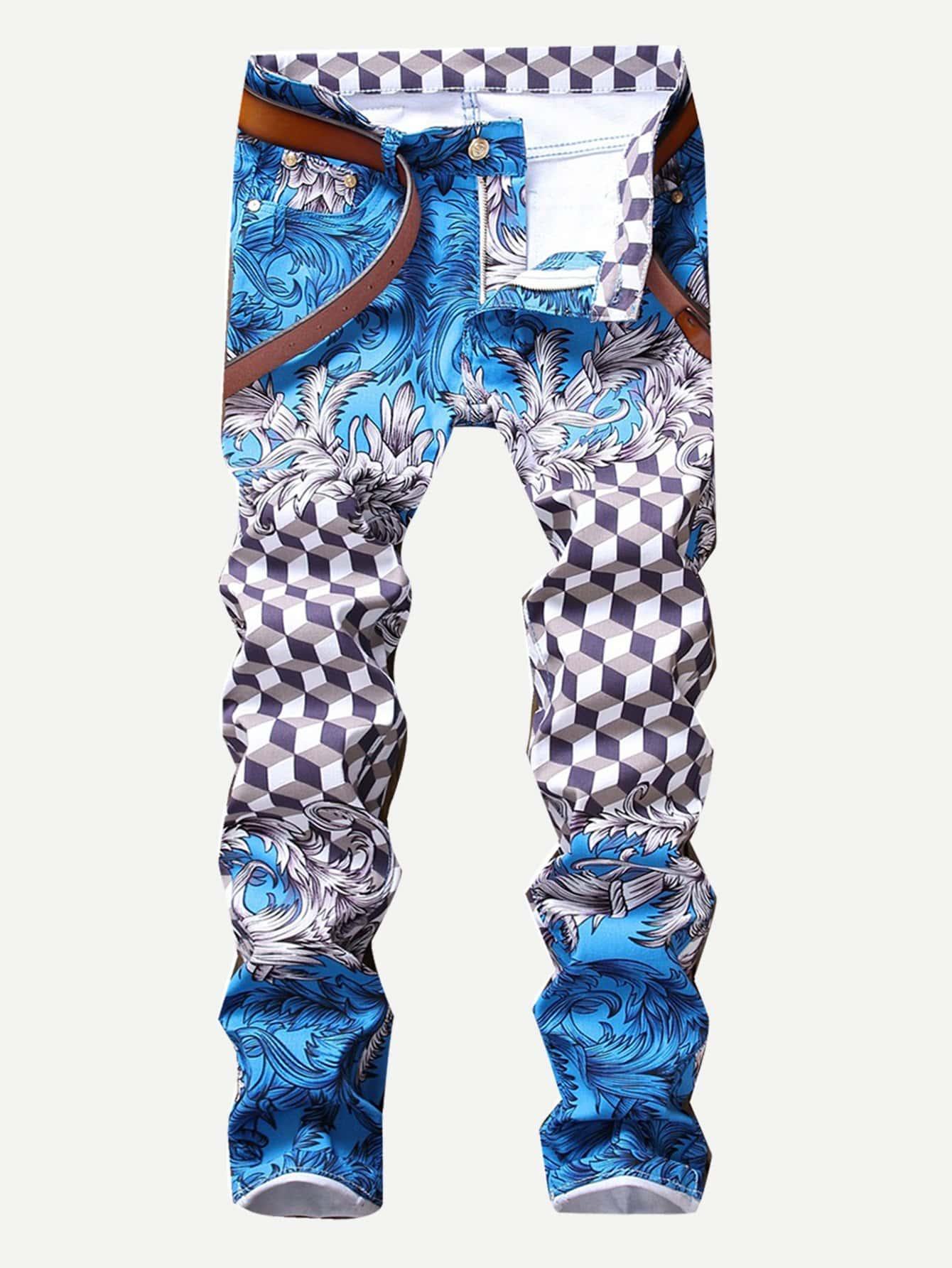Men Geo Print Jeans