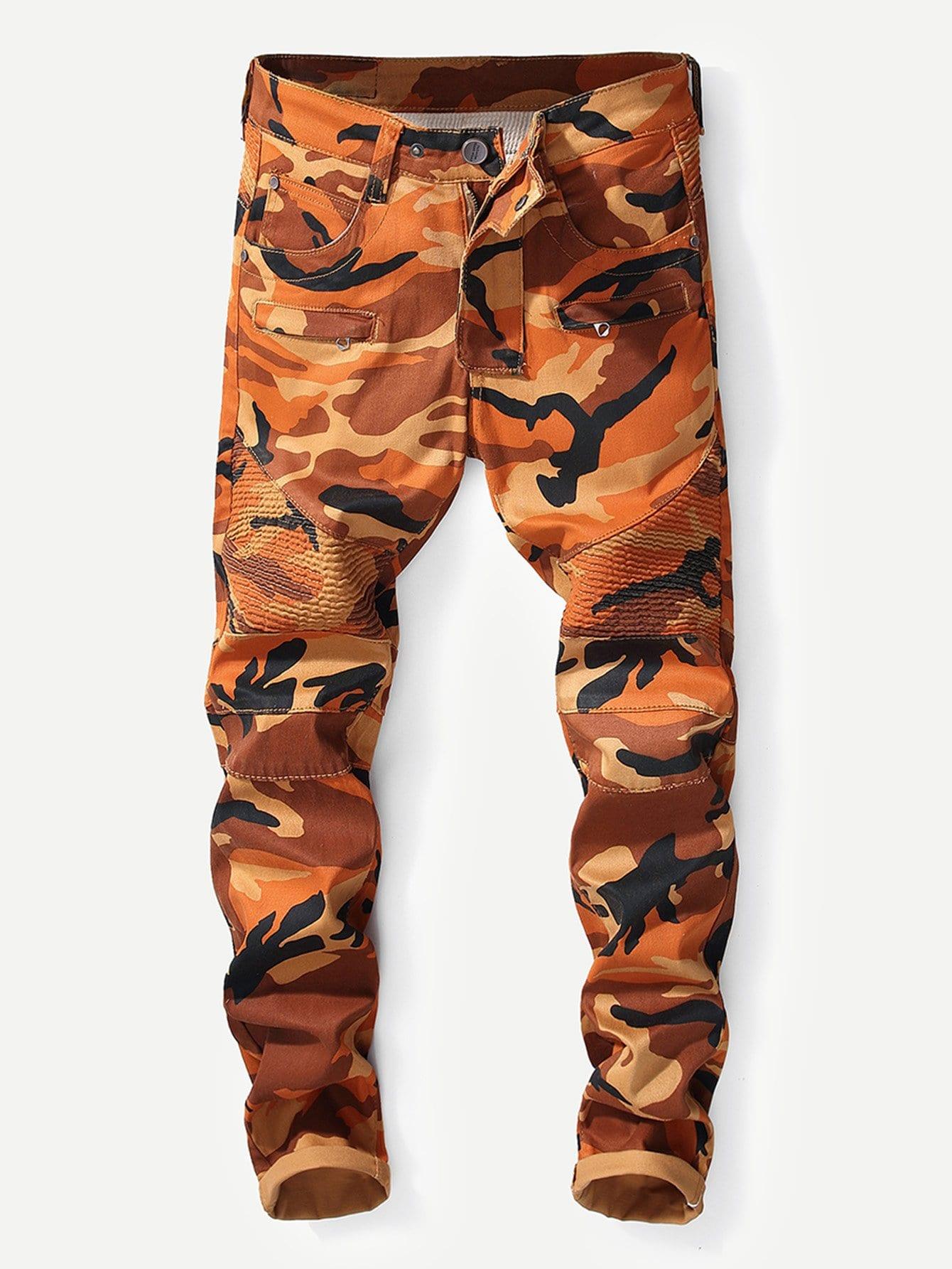 Men Zip Decoration Skinny Camo Jeans men zip decoration skinny camo jeans