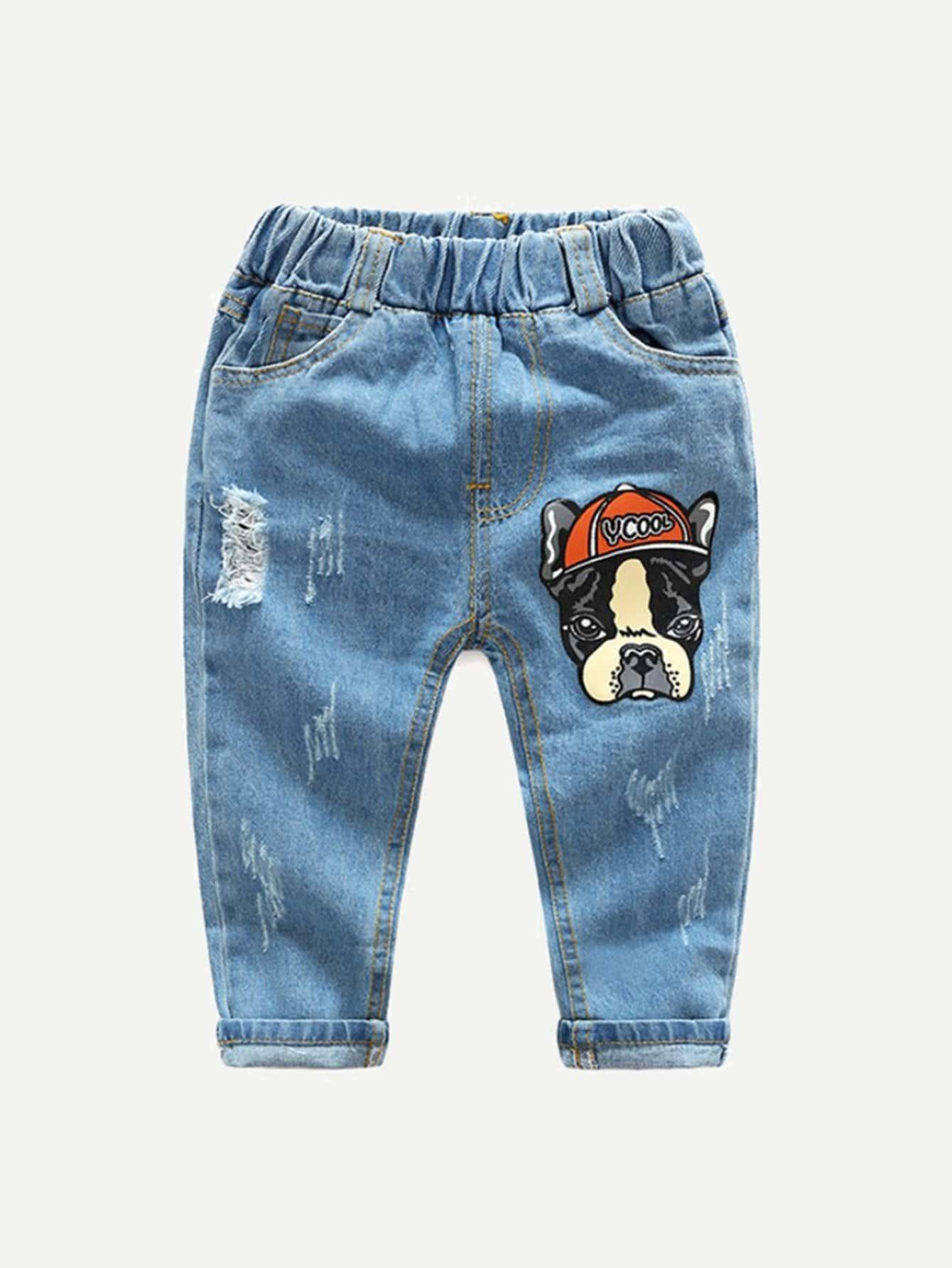 Boys Dog Print Destroyed Jeans цена 2017