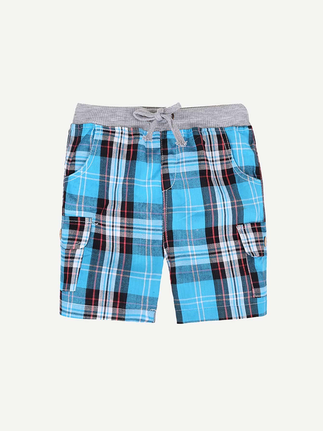 все цены на Boys Plaid Drawstring Shorts