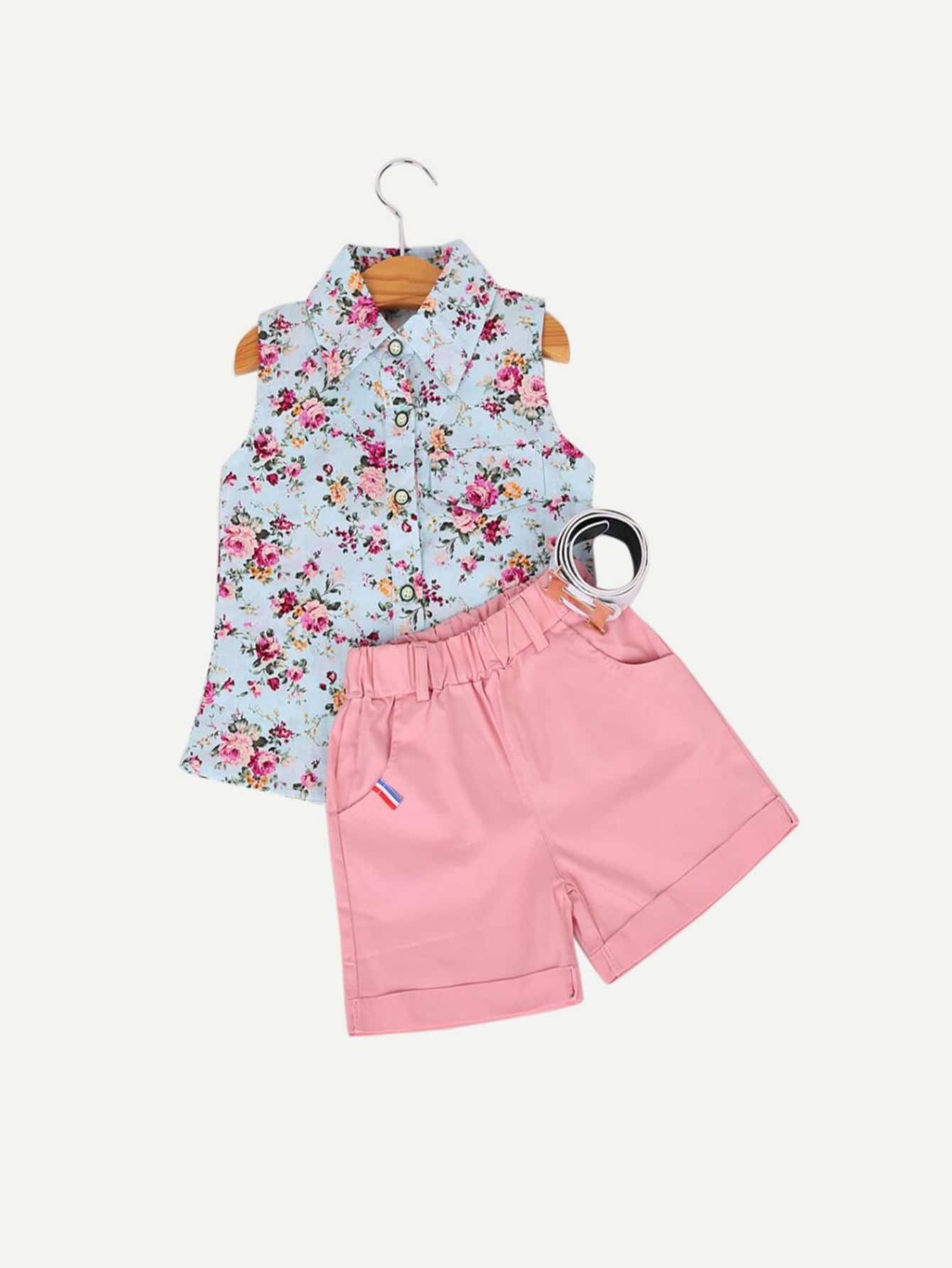 Kids Floral Print Vest With Rolled Hem Shorts rolled tbi original ballscrew sfk1002 length200mm with single nut