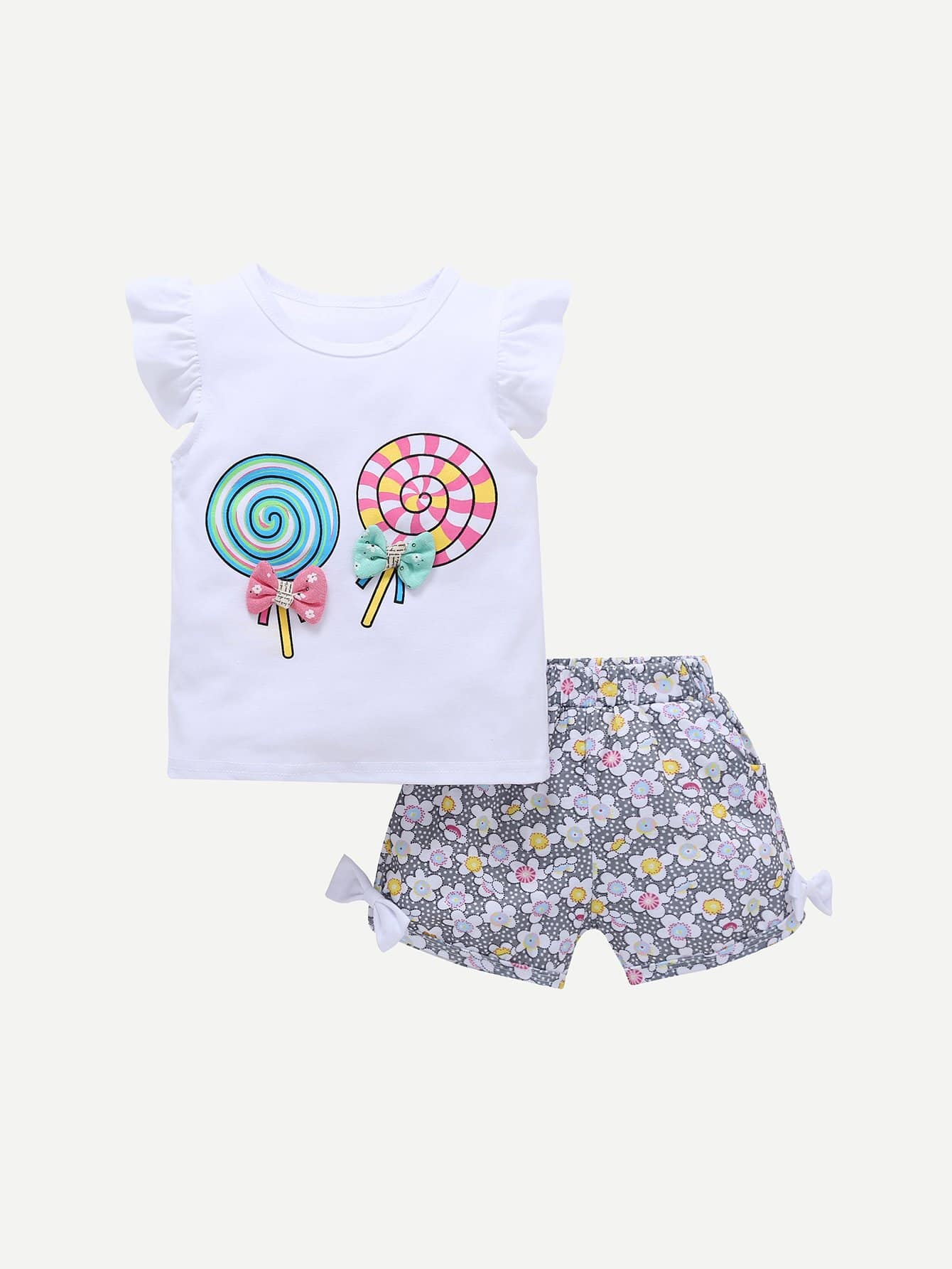 Girls Frill Lollipop Print Tee With Calico Print Shorts lj41 08420a lj41 08421a good working tested